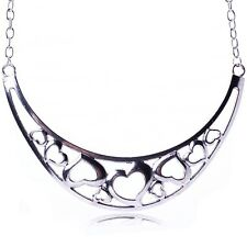Silver new Hollow Out Heart Bronze/Tibet Silver Chaplet Chain Collar Necklace