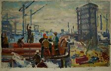 Russian Ukrainian Soviet Oil Painting realism impressionism construction worker