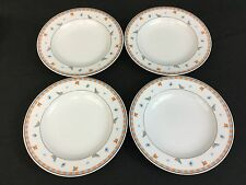 Winterling Marktleuthen Bavaria FOUR Rimmed Soup Bowls Peach Blue Leaves