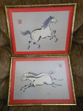set of 2 signed WAKYASAI watercolor horse prints framed Chinese