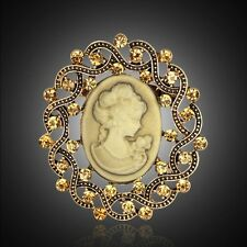 Vintage Cameo Queen Brooch Pin Old Gold Rhinestone Crystal Elegant Women Gift
