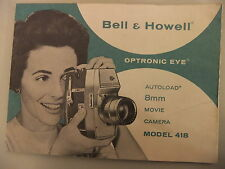 Instructions cine movie camera BELL & HOWELL Optronic Eye 8mm Model 418 CD/Email