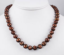 Chocolate Faceted Freshwater Pearl Necklace 17 Inch 14K Gold Clasp iDu Jewelry