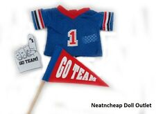 """Football Sports Fan Outfit Jersey Flag Finger for 18"""" American Girl Boy Doll"""