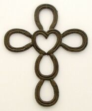 CAST IRON  HORSESHOE HEART CROSS  Wall Western &  Home Decor