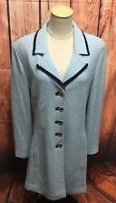 St John Collection Marie Gray Light Blue Gold Button Santana Knit Jacket Size 14