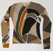 Emilio Pucci Thin Cashmere Sweater S Signature Print Top Multicolor