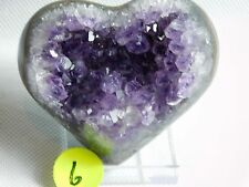 6) Amethyst + Agate Heart Purple Quartz Geode Crystal Great Gift 218g