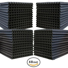 "48 Pack Acoustic Wedge Studio Soundproofing Foam Wall Tiles 12"" X 12"" X 1"""