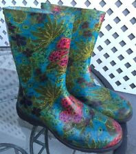 SLOGGERS Midsummer Rubber Rain Boots Galoshes Wellingtons Flowers pink Women's 7