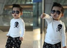 "2pcs Cotton Kids Baby Boys Outfit Long Sleeve Tops + Pants Clothes Set ""Skull """