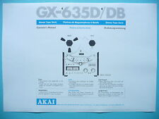 Operator's Manual user Manual for Akai GX-635D/DB