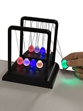 Newtons Multi-Color Light Up Cradle w/ LED Glass Balls and Mirror for Desktops