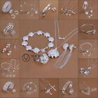 Wholesale Gift Solid925 Silver Jewelry Set Bracelet Necklace Ring Earrings+ box