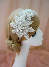 Vintage Wedding Two Diamante Flower Flapper LEAF  FASCINATOR HEADDRESS Headband
