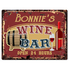 PWWB0088 BONNIE'S WINE BAR OPEN 24Hr Rustic Tin Chic Sign Home Decor Gift
