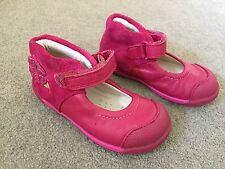 Girls Clarks First Walking Shoes Leather Pink Size 5 F Very Good Condition !