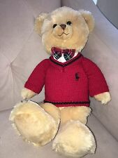 Ralph Lauren Tan Polo Teddy Bear 2007 New York Plaid Bow Tie Sweater Plush 15""