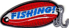 """FISHING!"" PATCH - FISHING LURE - SPORTS - FISH-Iron On Embroidered Patch"
