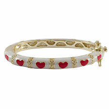 Gold Plated White Red Enamel Hearts Newborn Baby Bangle Bracelet 35mm
