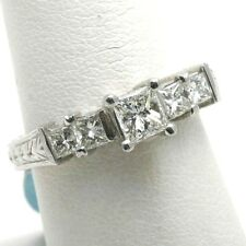 NEW Platinum Princess cut 5 stone ring Engagement Diamond 1.17 carat! Engraved