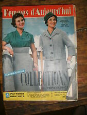 Femmes d'aujourd'hui N° 722 1959 Mode vintage 4 patrons Couture Broderie Robe