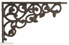 Cast Iron Wall Shelf Bracket Brace Leaf Leaves Brackets DIY Rust Brown 12""