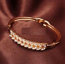 Womens 18K Rose Gold Filled Laurel Leaf Bracelet Bangle