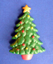 Buy3/Get1FREE~RUSS Christmas TREE Pin w GOLD STAR Vtg Holiday BROOCH