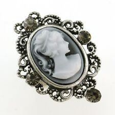 Oval Antique Silver Vintage Style CAMEO Ring Gray Crystal Stone Lady Size Free A