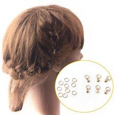 Stars Hair Clips Punk Gothic Hip-Hop Braid Gold Ring Pins Accessories DIY 16pcs