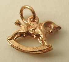 SOLID 9K 9ct ROSE GOLD 3D ROCKING HORSE ANIMAL Charm/Pendant  RRP $129