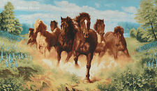 """34"""" WALL JACQUARD WOVEN TAPESTRY Running Mustang Horses WILD LIFE ANIMAL PICTURE"""