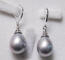 12X16MM Grey South Sea Shell Pearl Drop Dangle Hook Earrings AAA+