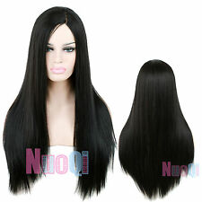 "27"" 1B# Women Synthetic Long Straight Black Side Part Lace Front Wig LC58"