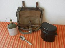 Vintage 1945 Swiss Army Military Salt & Pepper bread bag Canvas bottle +canteen