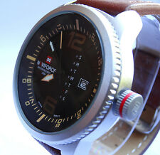 NEAT MILITARY 48mm Army Navy Pilot Aviator Sport Boat Date Quartz Steel Watch TW