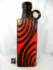 "Red & black glazed  70´s design Scheurich "" Fat Lava "" Keramik Vase 451 - 50"