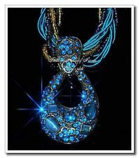 Retro Bronz Millet Chain Crystal Bohemia Resin  Blue Necklace & Pendant  fg26-