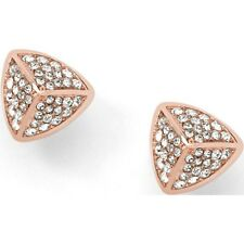 NEW-FOSSIL ROSE GOLD TONE,STAINLESS STEEL,CRYSTAL PAVE STUD EARRINGS JF01400791