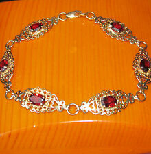 STUNNING SECONDHAND 9ct YELLOW GOLD GARNET  LINE BRACELET 19cm