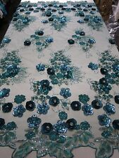 Turquoise Mesh w/ Embroidery Beaded Lace & Sequins Fabric - Sold by the Yard