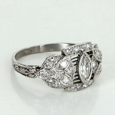 Antique Deco Diamond Platinum Filigree Ring Vintage Fine Jewelry Heirloom Fine