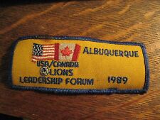 Lions Club Jacket Patch - Vintage '89 USA Canada Albuquerque NM Leadership Forum
