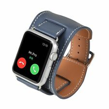 Apple Watch Leather Band 42mm -Mr.Pro Genuine Leather Cuff Strap for iWatch BLUE