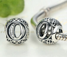 hot letters O European Silver CZ Charm Beads Fit sterling 925 Bracelet Chain #O