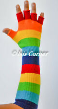 RAINBOW LONG EMO GOTH PUNK COSTUME COSPLAY ROCKABILLY STRIPED FINGERLESS GLOVES