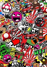 3 x A4 JDM Sticker Bomb sheet Euro Vinyl Decal vw honda Dub Japan Drift