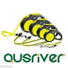Flexi Automatic Retractable FluorescenceTracking Lead Flat Strap Yellow & Black