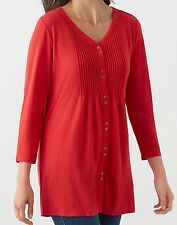 J Jill Top XL Red NEW Long Tunic Button Front Shirt Shirred Back May Fit 1X 2X